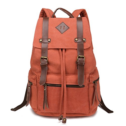 Red Dandelion Canvas Rivet Original Fashion Simple Student Bag (Orange)