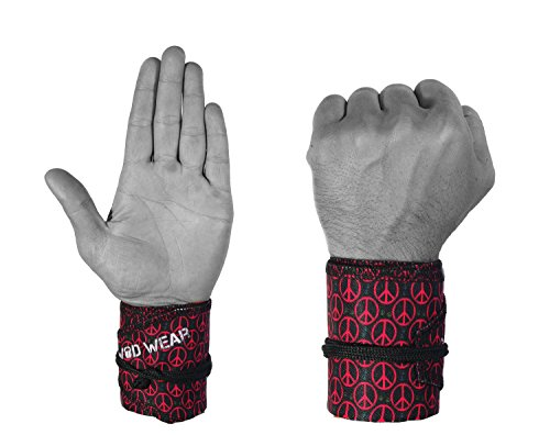 Wrist Wraps For Fitness, Cross Training, Exercise, Bodybuilding, Olympic Weightlifting - Colors for Men and Women - Once Size Fits All - 100% (Peace Signs)