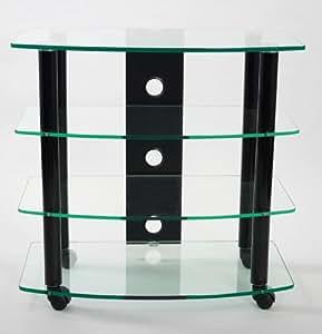 TransDeco TD110B Highboy Cart TV Stand, High Gloss Black