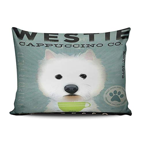 WULIHUA Decorative Throw Pillow Covers Westie Dog Green Cup Espresso Throw Pillow Cushion Covers for Sofa One Side Printed Queen 20x30 Inches