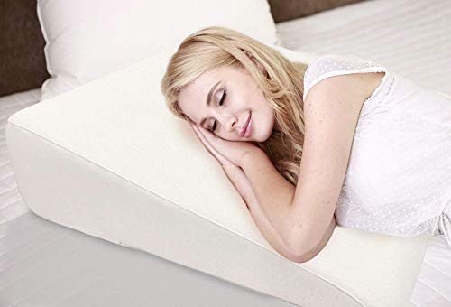 "7.5"" Wedge Pillow For Acid Reflux - Dr. Recommended Height, Luxurious 2"" Memory Foam Pillow Wedge For Sleeping, GERD, Post Surgery, Heartburn, and Snoring - Washable Bamboo Cover (25""W x 26""L x 7.5""H)"