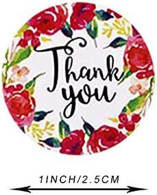 500 etiquetas autoadhesivas de agradecimiento Floral Thank You hechas a mano Round Baking Sticker Kraft etiquetas adhesivas para regalos hechos en casa 1 pulgada