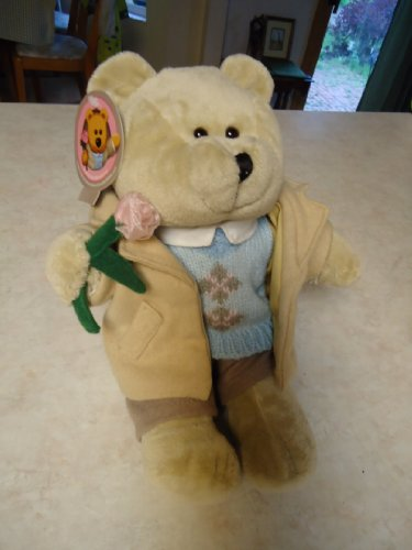 Starbucks Bear - Starbucks Bearista 2006 Valentines Day Plush Bear - Boy Bear in Dress Clothes with a Pink Rose- Boyfriend Comes Calling Bear - 194030