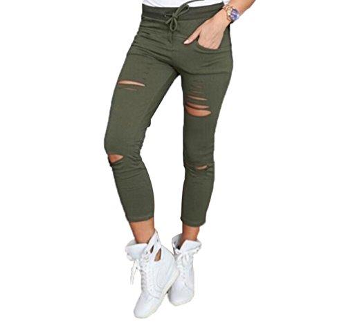 Pantaloni Stretch Donna Sottile Strappato Colore Dooxi Verde Pantaloni Solido Fit Sportivi 65XwOq5dx