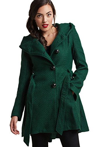 (Sportoli Womens Single Breasted Wool Blend Belted Winter Dress Drama Coat with Hood - Green (Size Medium))