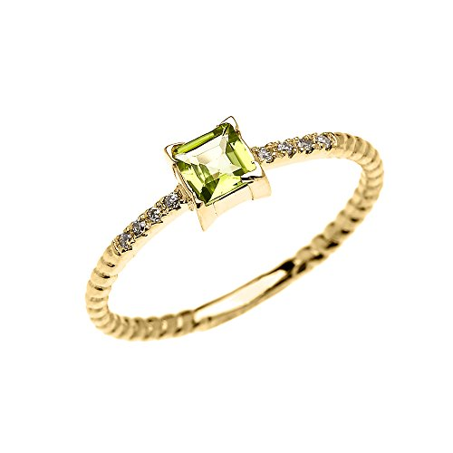 14k Yellow Gold Diamond and Princess Cut Solitaire Peridot Dainty Promise/Engagement Ring (Size 5.5)