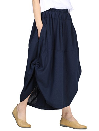 Mordenmiss Women's New Elastic Waist Wide Leg Pants with Pockets (L, Style 1-Dark Blue) (Plus Size Linen Cropped Pants)