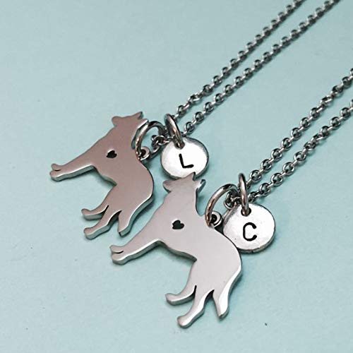 Best friend necklace, German Shepherd necklace, dog necklace, bff, sister, friendship jewelry, personalized necklace, initial, monogram