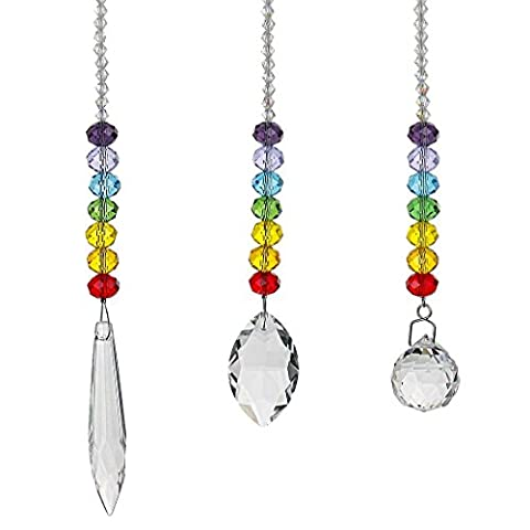 H&D Chandelier Crystals Prisms Rainbow Chakra Suncatcher with Beads Decorating Hanging Ornament,Set of (Crystal Suncatcher Chakra)