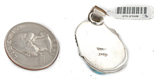 Delicate $300 Retail Tag Authentic Silver Handmade Made by Mae Peshlakai Navajo Natural Turquoise Native American Pendant by Native-Bay (Image #4)
