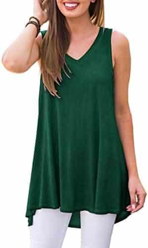 8528f8941b2ee AWULIFFAN Women's Summer Sleeveless V-Neck T-Shirt Tunic Tops Blouse Shirts
