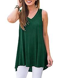 68dc2e69348b2 Women's Summer Sleeveless V-Neck T-Shirt Tunic Tops Blouse Shirts