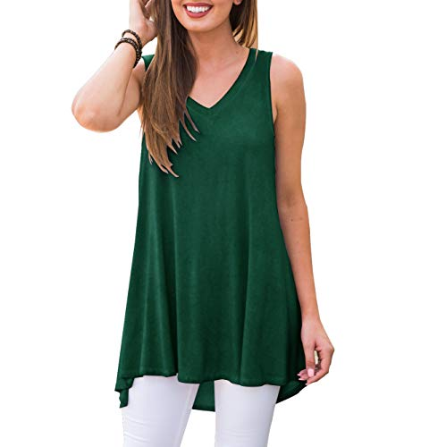 AWULIFFAN Women's V Neck Tank Tops Loose Casual Sleeveless Shirts Blouses (Dark Green,XL)