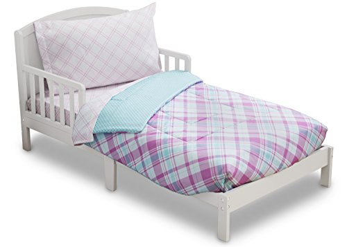 Delta Children Reversible Girls Toddler 4 Piece Bedding Set (Fitted Sheet, Flat Top Sheet w/ Elastic bottom, Fitted Comforter w/ Elastic bottom, Standard Pillowcase) Plaid-Gingham | Pink, Purple, Turq