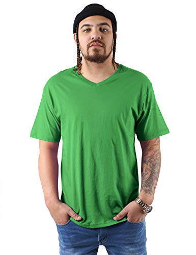 Hat and Beyond Mens V Neck Tee Solid Fit T Shirts S-2XL (X-Large,1hc04_ Green)