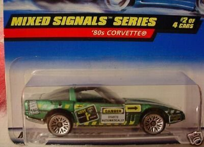 Mattel Hot Wheels 1998 1:64 Scale Mixed Signals Series Green 80's Chevy Corvette Die Cast Car 2/4 - Pro Rodz Series