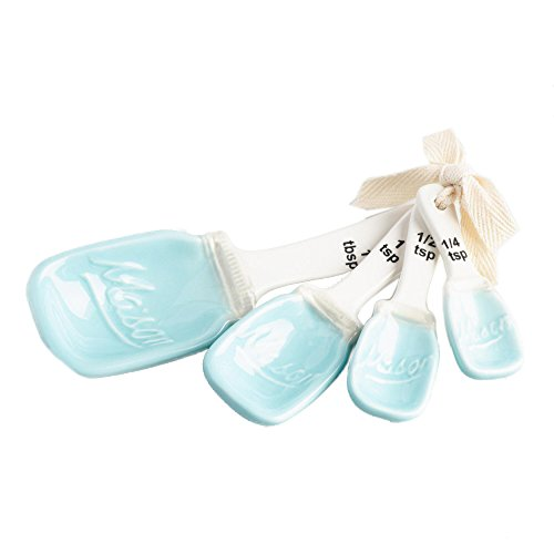 Blue Ceramic Mason Jar Measuring Spoons Set