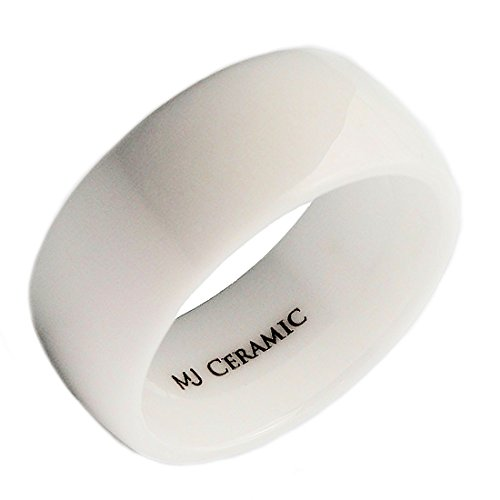 Ceramic Ring (MJ 10mm White Ceramic Wedding Ring Classic High Polished Band Size 9.5)
