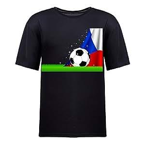 Custom Mens Cotton Short Sleeve Round Neck T-shirt,2014 Brazil FIFA World Cup Soccer Czech black