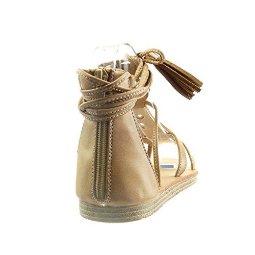 Sandale Camel 5 Angkorly Mode Pom Plat 1 Talon Ouverte Femme Pom Frange Chaussure CM Perle EE6rqfWwZ