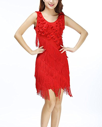 Whitewed Dressy Fringe Beaded Petal 1920 s 20 s Flapper Tank Dress Costumes Red,14/18 -