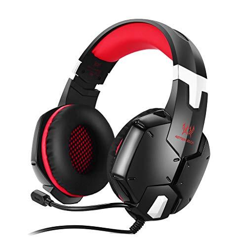 Inspired G1200 Game Big Headphones,Kshion Novelty Trendy 3.5mm Gaming Bass Stereo Headset Headphones Earphones Colorful LED (Red)