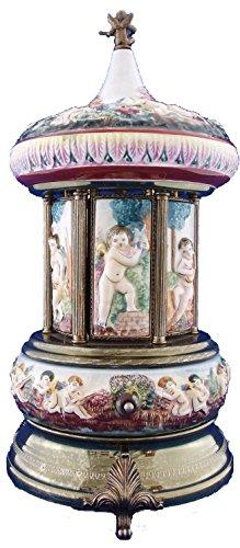 (R.Capodimonte Porcelain Cherubs Reuge Carosel Music Box Cigarette Lipstick Holder)