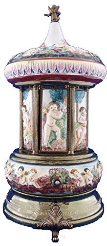 Capodimonte Porcelain Figurine (R.Capodimonte Porcelain Cherubs Reuge Carosel Music Box Cigarette Lipstick Holder)