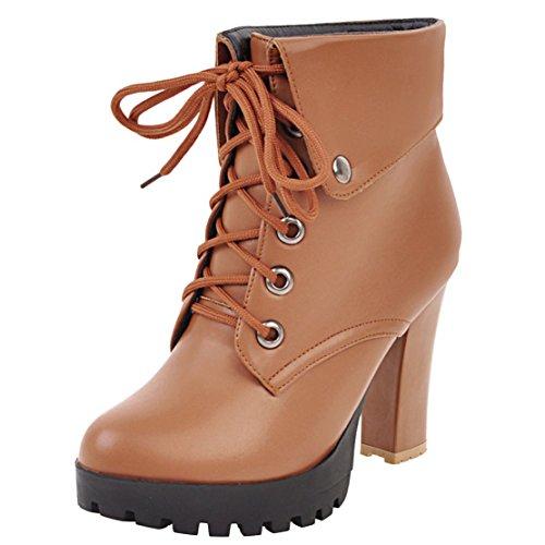 AIYOUMEI Damen Blockabsatz Stiefeletten mit Plateau und Schnürung High Heels Kurzschaft Stiefel Braun
