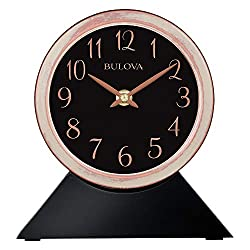 Bulova B5404 Port Jeff Clock, Aged Copper Finish, Black Base