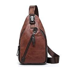 TraderPlus Men's Shoulder Backpack Leather Cross Body Chest Bag Travel Rucksack Sling Retro Bag (Brown)