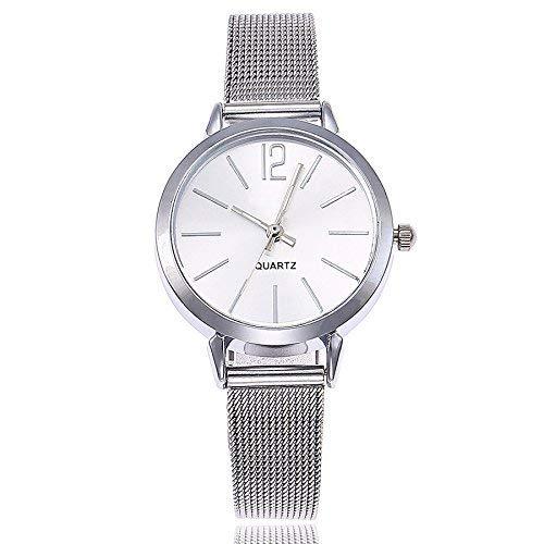 DressLksnf_Reloj Lujo Moda de Mujer Pulsera Banda de Malla Reloj Cadena Ajuste Simple Acero Inoxidable Durable Digital Clásico: Amazon.es: Ropa y accesorios