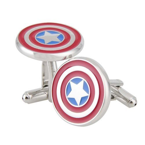 NexgenCover I Love Dad Cufflinks Hero Cuff-links Red Black Cufflinks (Hero Captain America Cufflinks Marvel Comics Formal Wear)