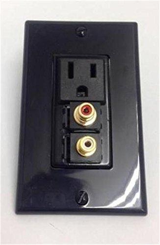 CERTICABLE CUSTOM BLACK SINGLE GANG WALL PLATE - 110V POWER + RCA RED + RCA (Speakon Wall Plate Single)