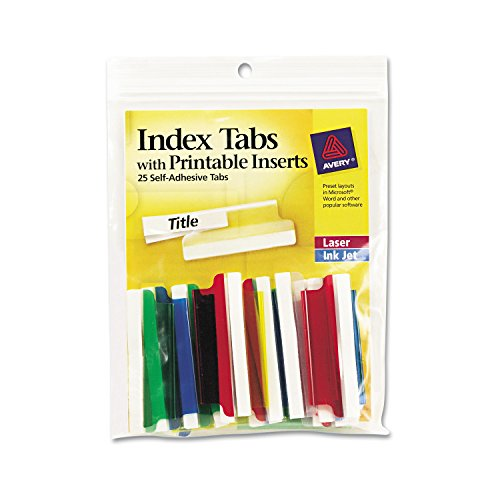 Avery 16239 Insertable Index Tabs with Printable Inserts, Two, Assorted Tab (Pack of 25)