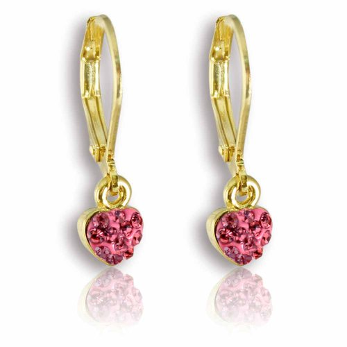 Little Girls Earrings with Dangle Crystal Heart- 14kt Gold Plated Leverbacks Fashion Jewelry for Girls