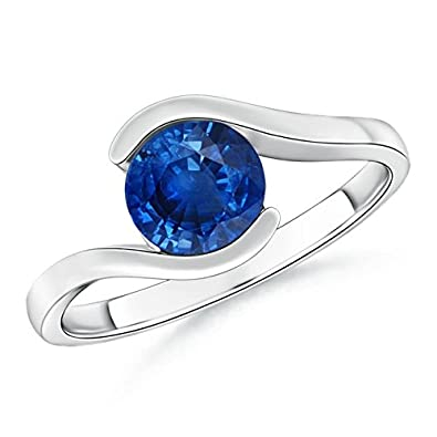 Angara Solitaire Blue Sapphire Bypass Ring with Diamond in 14k Yellow Gold 9ba0cFifE