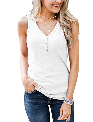 Minthunter Women's Casual Summer V Neck Tank Tops Sleeveless Button Down Shirts ()