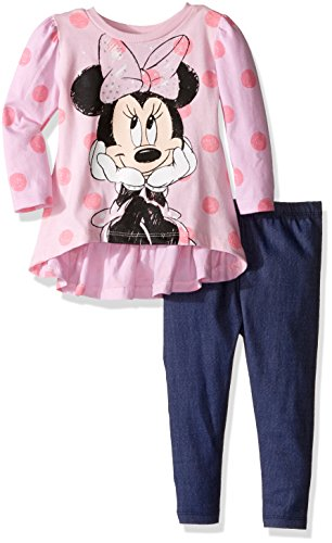 [Disney Baby Girls' Minnie Mouse Legging Set with Fashion Top, Pink, 18 Months] (Minnie Mouse Outfit For Babies)