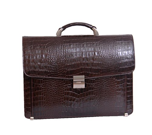 Mens Leather Crocodile Briefcase David Combination Lock L...