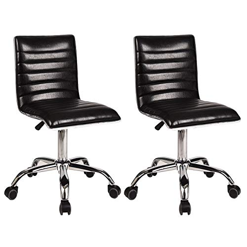 FULLWATT Soft Upholstery Mid Back Task Chair Armless Ribbed Designer Swivel Desk Chair with Lumbar Support Set of 2 (Black)