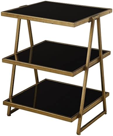 MY SWANKY HOME Antiqued Gold Small Three Shelf Table Etagere