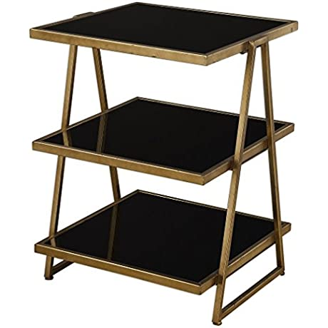Antiqued Gold Small Three Shelf Table Etagere Bronze Iron Black Modern