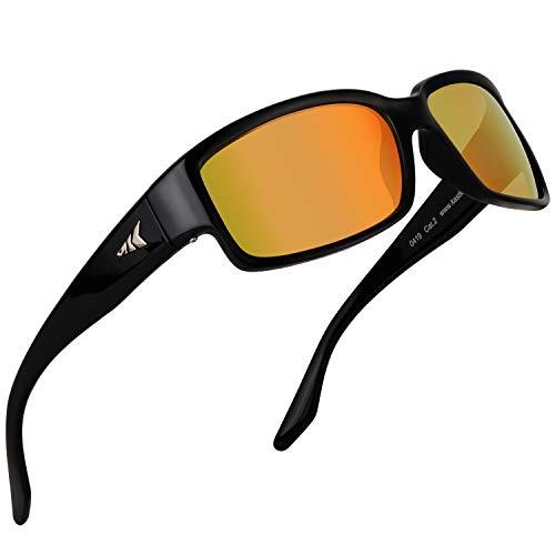 KastKing Skidaway Polarized Sport Sunglasses, Gloss Black Frame, Amber Scarlet ()