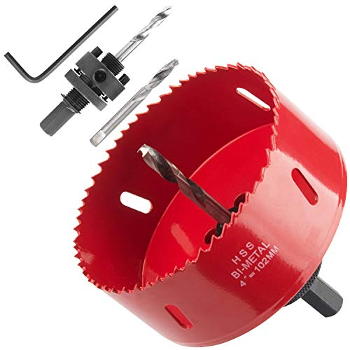 Heavy Duty 4 Hole Saw with Arbor, Abuff 38mm Depth Bi-Metal HSS 4 Inch Hole Saw Blade With Positive Rake Teeth For Cutting Soft Metal, Drywall, Plastic, Wood, ()