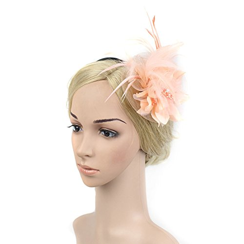 Victoria Halloween Costumes (Mwfus Women's Mesh Net Feathers Big Flower Bow Hair Clip Headwear)