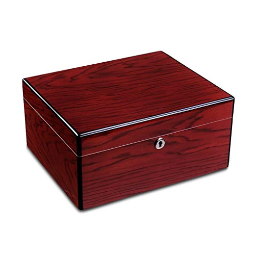 $244.46 antique humidor Humidor Cigar box cigar cabinet men's gift box large capacity can hold 75 cigars, cigar wood moisturizing box solid wood with hygrometer and humidifier constant temperature and humidity sealed cigaret 2019