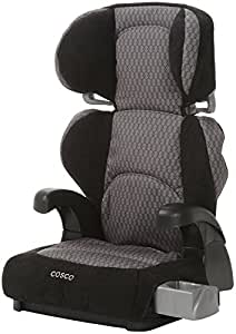 Cosco Pronto! Booster Car Seat for Children, Adjustable Headrest, Integrated Cup Holders, Linked Black