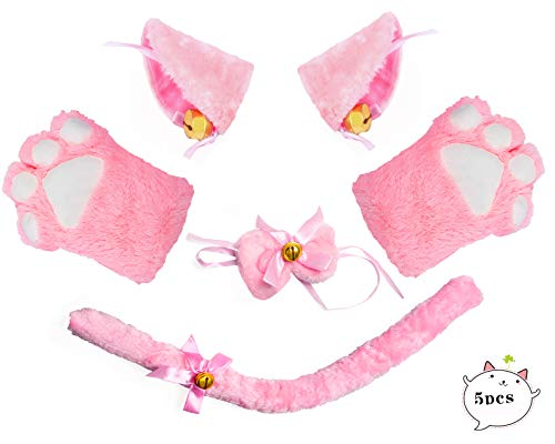 Beelittle Cat Cosplay Costume Kitten Ears Tail Collar Paws 5 Pack (Pink1) ()