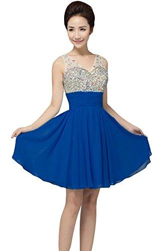 Drasawee V Neck Sequins Beaded Short Prom Dress For Junior Brithday Party Royal Blue US4